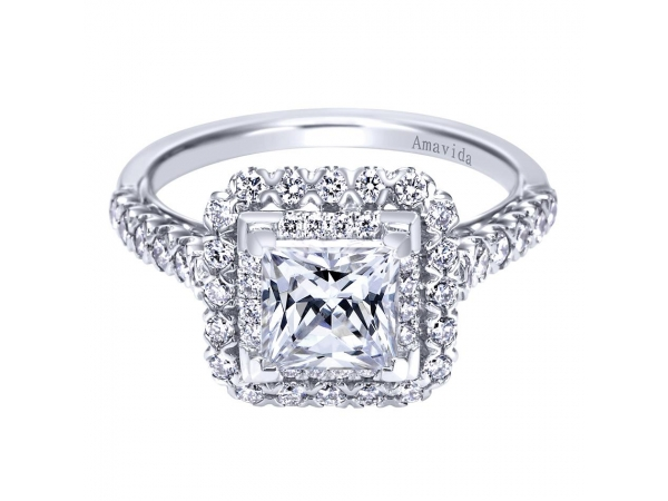 18K Double Halo Engagement Ring Setting by Gabriel & Co