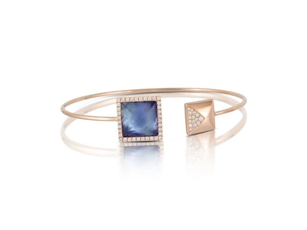 18K Rose Gold Diamond and Triplet Gemstone Cuff by Dove