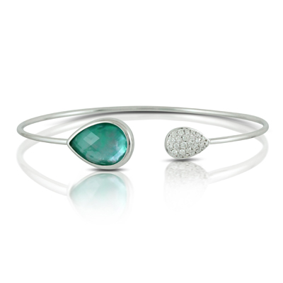 18K White Gold Diamond and Triplet Gemstone Cuff by Dove