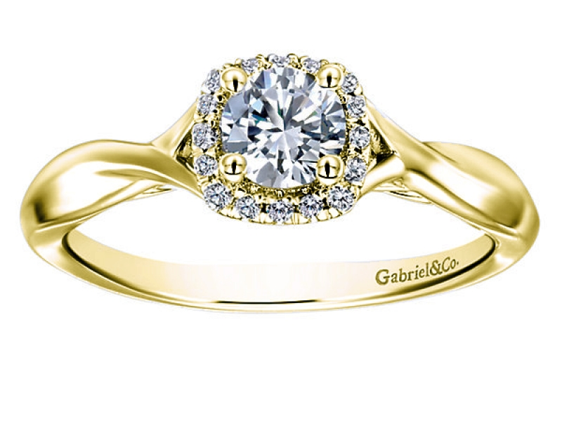 .46 Carat Round Diamond Halo Engagement Ring by Gabriel & Co