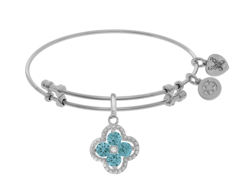 Angelica Light Blue Flower Bangle by Angelica