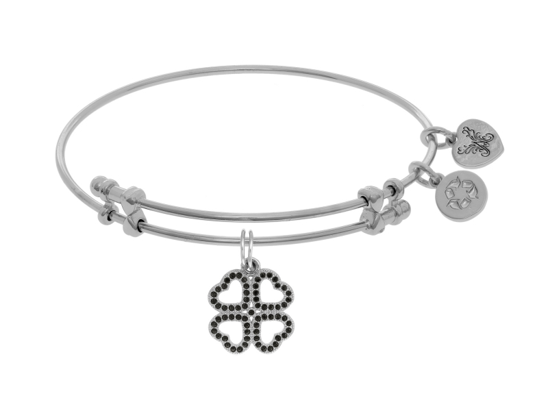 Angelica Black CZ Clover Bangle by Angelica